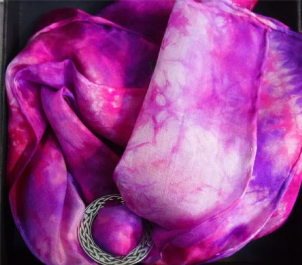 "Ladycrow Smooth Pongee Silk Scarf ""Fuchsia"" with Scarf Ring"